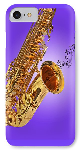 Sounds Of The Sax In Purple IPhone Case by Gill Billington