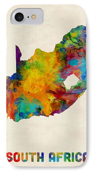 South Africa Watercolor Map IPhone Case by Michael Tompsett