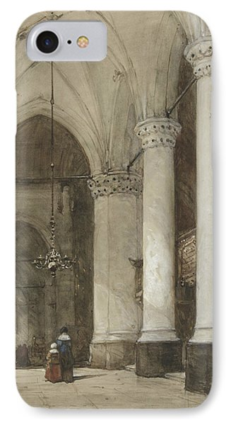 South Aisle Of The Grote Kerk In The Hague, With Seventeenth-century Figures IPhone Case by Johannes Bosboom