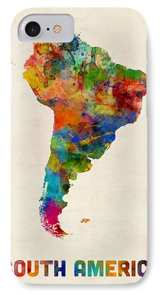 South America Watercolor Map IPhone Case