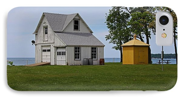 South Bass Island Lighthouse Barn And Oil Storage Building I IPhone Case by Michiale Schneider