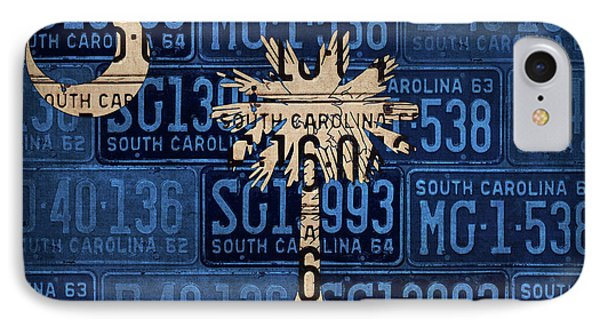 South Carolina State Flag Vintage License Plate Art Phone Case by Design Turnpike