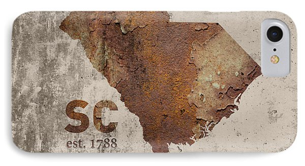 South Carolina State Map Industrial Rusted Metal On Cement Wall With Founding Date Series 010 IPhone Case