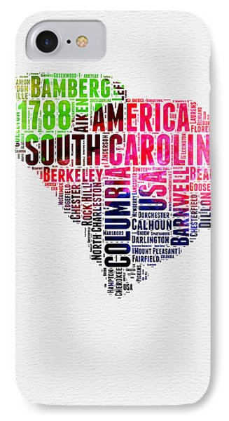 South Carolina Watercolor Word Cloud IPhone Case by Naxart Studio