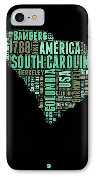 South Carolina Word Cloud 2 IPhone Case by Naxart Studio