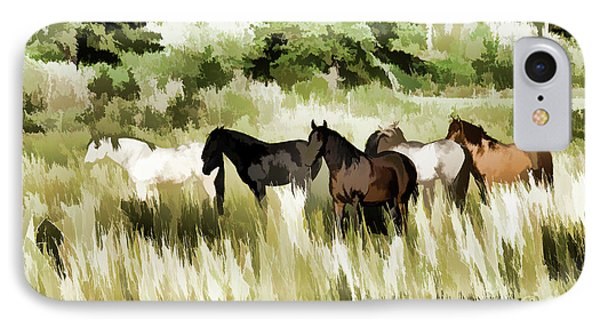 IPhone Case featuring the mixed media South Dakota Herd Of Horses by Wilma Birdwell