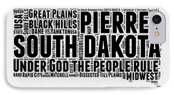South Dakota Word Cloud 1 IPhone Case by Naxart Studio