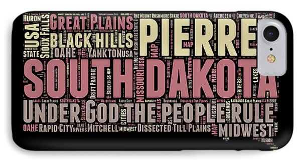 South Dakota Word Cloud 2 IPhone Case by Naxart Studio