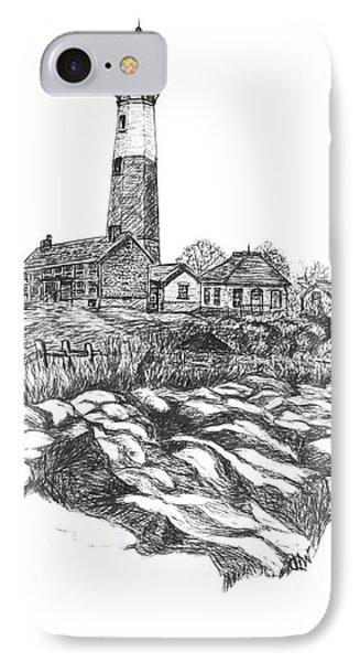 South Fork Lighthouse L I N Y  Bw IPhone Case by Carol Wisniewski