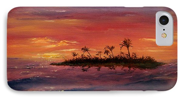 IPhone Case featuring the painting South Pacific Atoll by Jack Skinner
