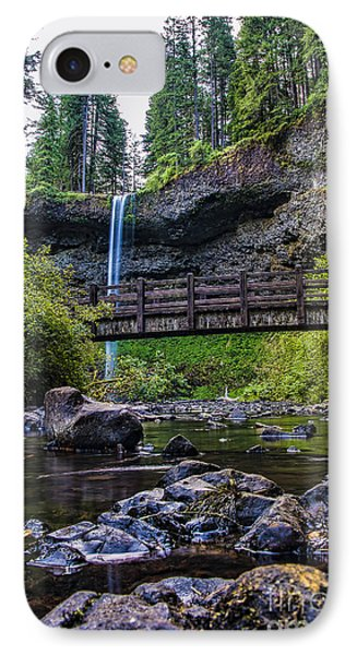 South Silver Falls With Bridge IPhone Case by Darcy Michaelchuk
