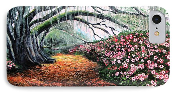 IPhone Case featuring the painting Southern Charm Oak And Azalea by Patricia L Davidson