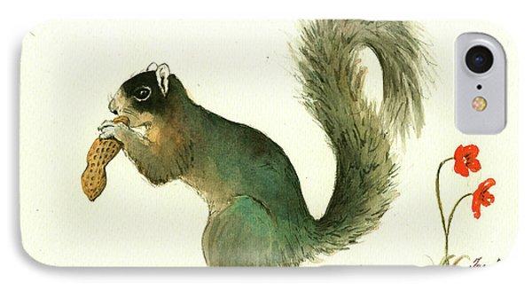 Squirrel iPhone 7 Case - Southern Fox Squirrel Peanut by Juan Bosco