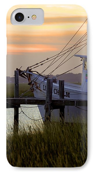 Southern Shrimp Boat Sunset Phone Case by Dustin K Ryan