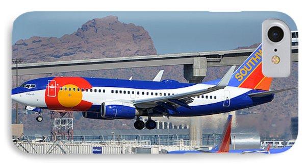 Southwest Boeing 737-7h4 N230wn Colorado One Phoenix Sky Harbor January 24 2016 Phone Case by Brian Lockett