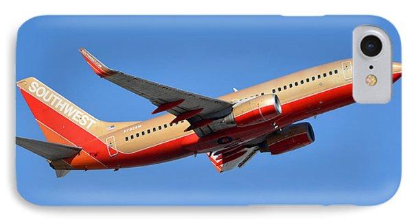 Southwest Boeing 737-7h4 N792sw Retro Gold Phoenix Sky Harbor January 21 2016 Phone Case by Brian Lockett