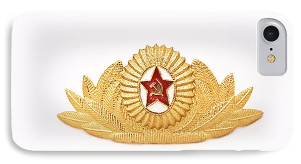 IPhone Case featuring the photograph Soviet Army Officer Cap Badge by Yurix Sardinelly