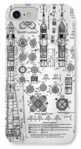 IPhone Case featuring the digital art Soviet Rocket Schematics by Taylan Apukovska