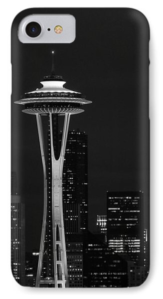 Space Needle At Night In Black And White IPhone Case by Mark J Seefeldt