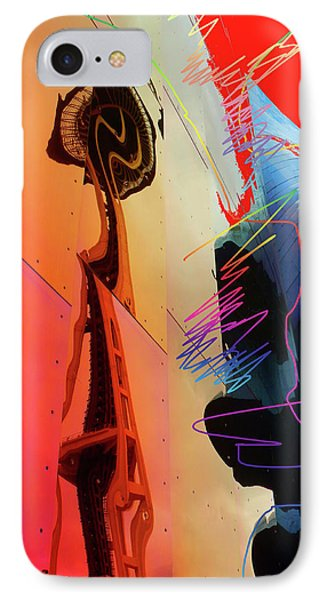 IPhone Case featuring the digital art Space Needle Reflection 1 by Walter Fahmy