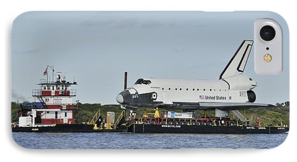IPhone Case featuring the photograph Space Shuttle Inspiration On A Barge by Bradford Martin