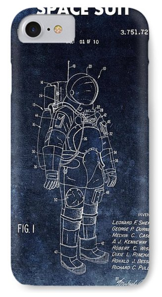 Space Suit Patent Illustration IPhone Case by Dan Sproul