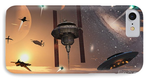 Spaceships Used By Different Alien Phone Case by Mark Stevenson