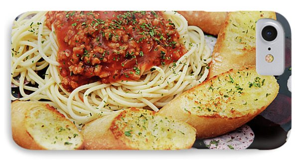 Spaghetti And Meat Sauce With Garlic Toast  Phone Case by Andee Design