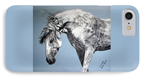 IPhone Case featuring the drawing Spanish Horse by Melita Safran