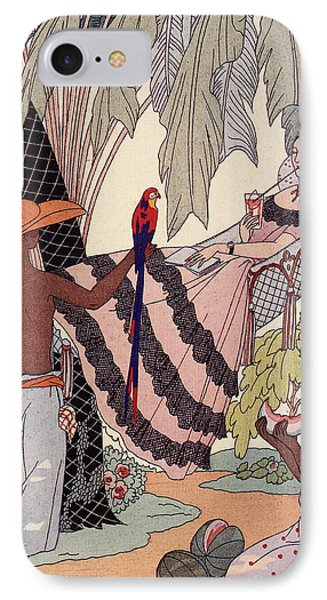 Spanish Lady In Hammock With Parrot IPhone Case by Georges Barbier