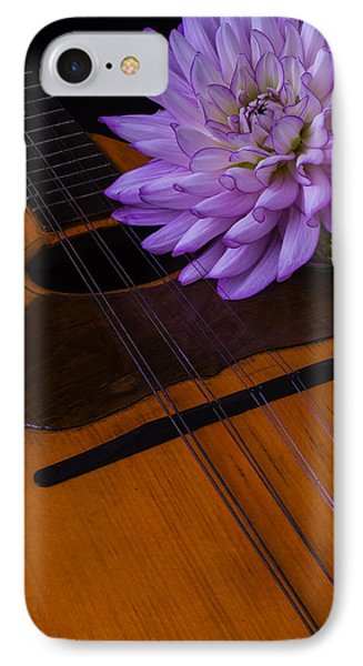 Spanish Mandolin And Dahlia IPhone Case by Garry Gay
