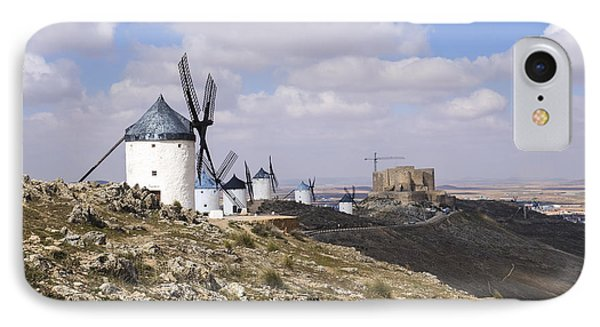 Spanish Windmills And Castle Of Consuegra IPhone Case by Perry Van Munster