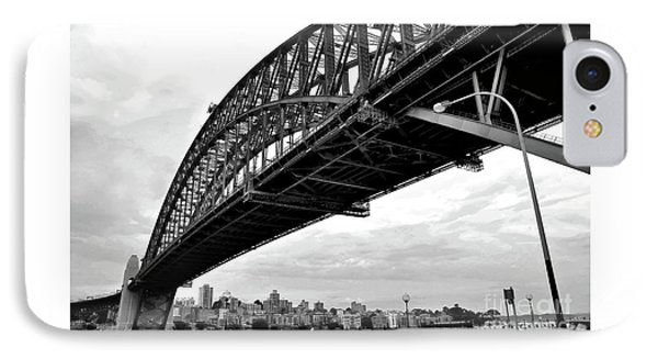 Spanning Sydney Harbour - Black And White Phone Case by Kaye Menner