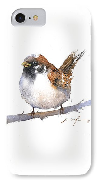 Sparrow Bird Watercolor Art IPhone Case by Nitin Singh