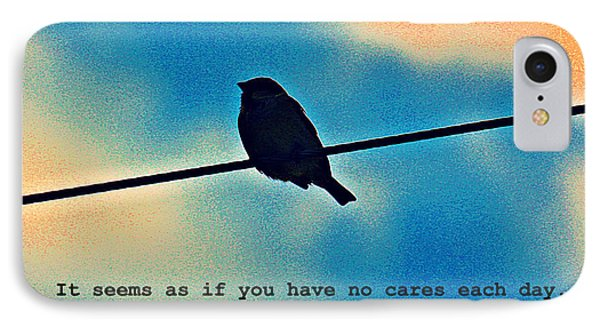 Sparrow On The Wire- Fine Art And Poetry IPhone Case by KayeCee Spain