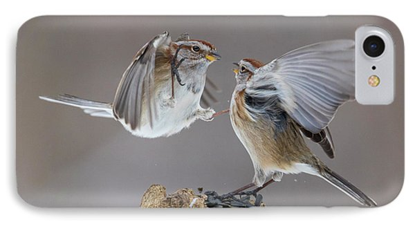 IPhone Case featuring the photograph Sparrows Fight by Mircea Costina Photography
