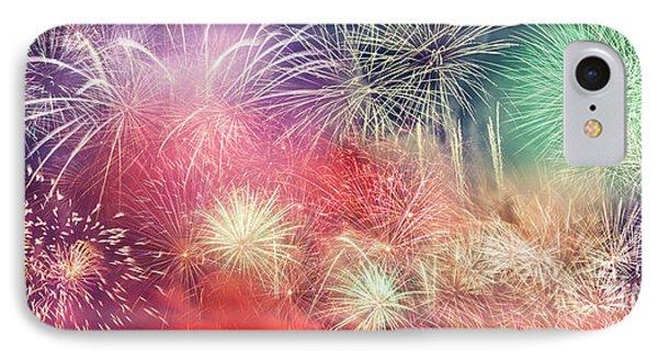 Spectacular Fireworks Show Light Up The Sky. New Year IPhone Case by Michal Bednarek