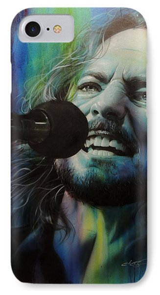 Eddie Vedder - ' Spectrum Of Vedder ' IPhone 7 Case by Christian Chapman Art