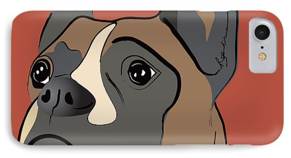 Spencer Boxer Dog Portrait Phone Case by Robyn Saunders