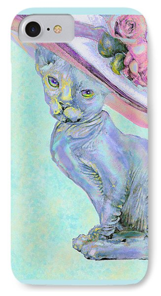 IPhone Case featuring the digital art Sphinx In Pink Hat by Jane Schnetlage