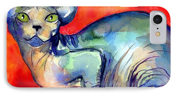 Sphynx Cat 6 Painting Phone Case by Svetlana Novikova