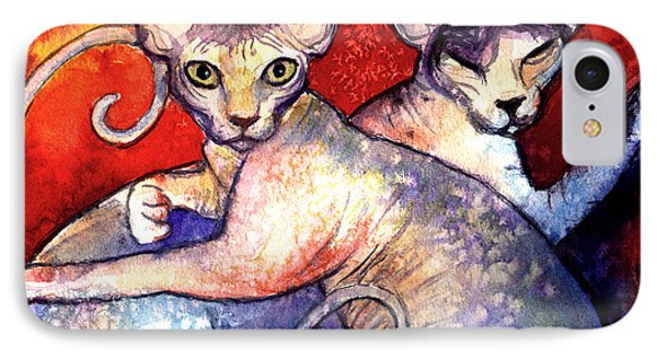 Sphynx Cats Sphinx Family Painting  IPhone Case by Svetlana Novikova