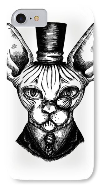 Sphynx Gentleman IPhone Case by Akiko Okabe