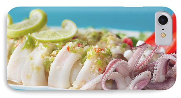 IPhone Case featuring the photograph Spicy Food, Steamed Squid by Atiketta Sangasaeng