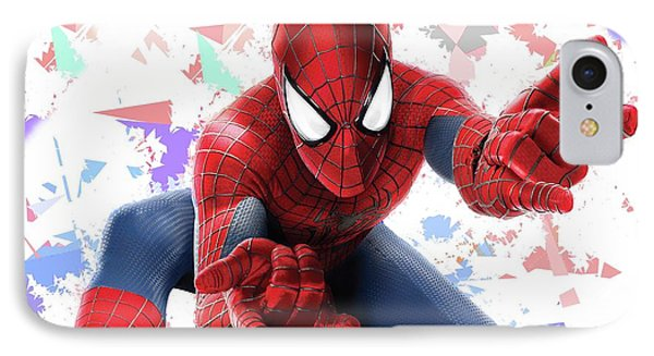 IPhone Case featuring the mixed media Spider Man Splash Super Hero Series by Movie Poster Prints