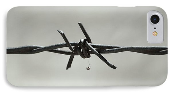 Spider On Barbed Wire In Black And White IPhone Case