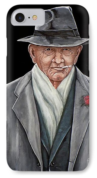 IPhone Case featuring the painting Spiffy Old Man by Judy Kirouac