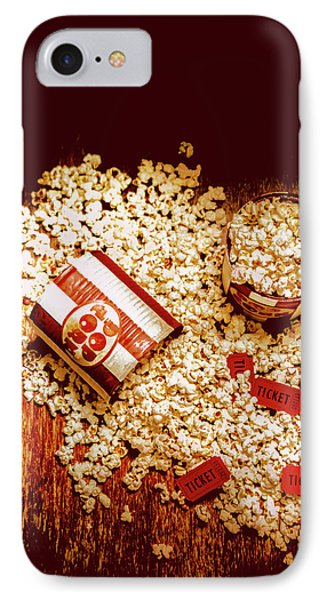 Spilt Tubs Of Popcorn And Movie Tickets IPhone Case by Jorgo Photography - Wall Art Gallery
