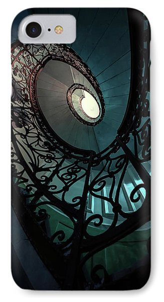IPhone Case featuring the photograph Spiral Ornamented Staircase In Blue And Green Tones by Jaroslaw Blaminsky