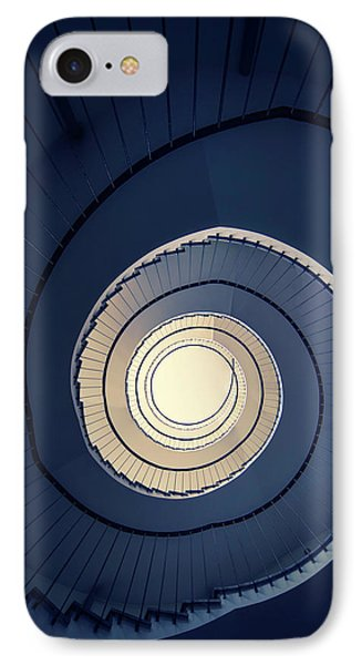 Spiral Staircase In Blue And Cream Tones IPhone Case by Jaroslaw Blaminsky